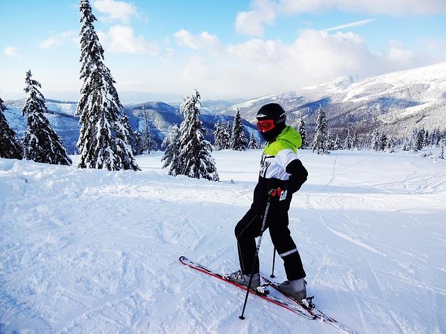 sníh, kopce, lyžař